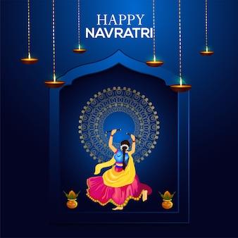 Feliz celebración navratri y dandiya