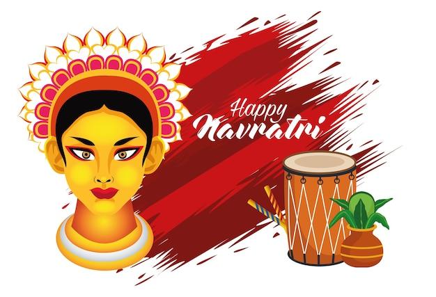 Feliz celebración navratri con la diosa amba y el tambor, diseño de ilustraciones vectoriales