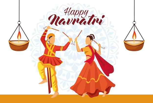 Feliz celebración navratri con pareja de bailarines y velas, diseño de ilustraciones vectoriales