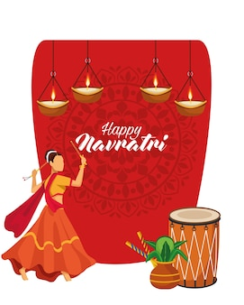 Feliz celebración navratri con tambor y bailarina, diseño de ilustraciones vectoriales