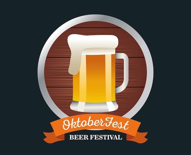 Feliz celebración de oktoberfest con jarra de cerveza en el marco de madera, diseño de ilustraciones vectoriales