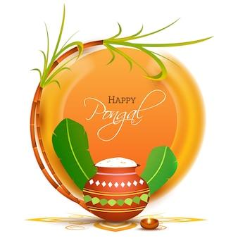 Feliz celebración de pongal con olla de barro llena de arroz pongali