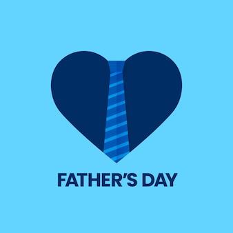 Feliz celebración de la tarjeta de felicitación del día del padre con el símbolo del corazón de amor y corbata de trabajo a rayas aisladas