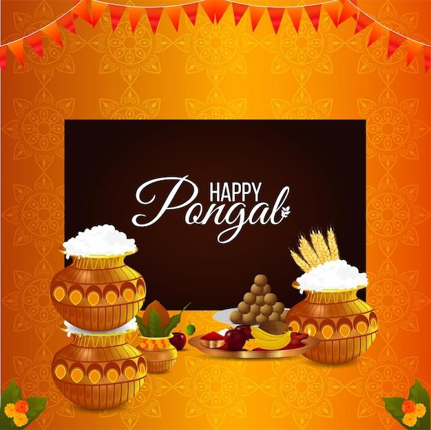 Feliz celebración de la tarjeta de felicitación pongal fondo festival indio