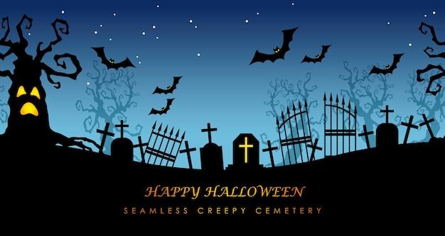Feliz cementerio de halloween sin fisuras con espacio de texto