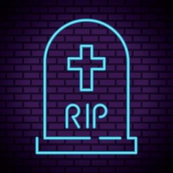 Feliz cementerio de halloween en luz de neón