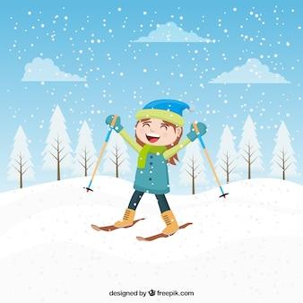 Feliz chica esquiando