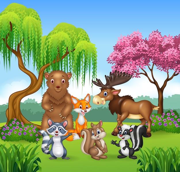 Feliz colección de animales en la jungla
