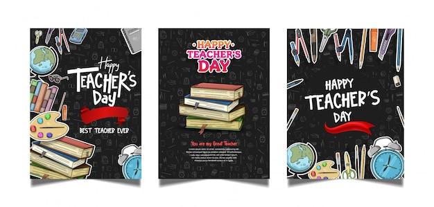 Feliz colección de carteles del día del maestro