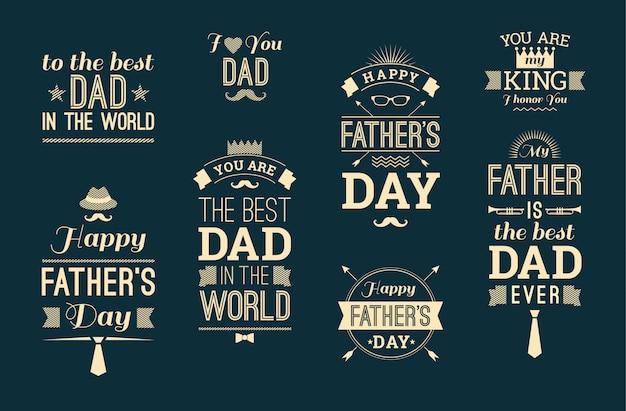 Feliz colección del día de padre en estilo retro.