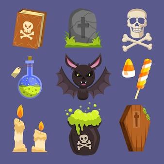 Feliz colección de elementos de halloween