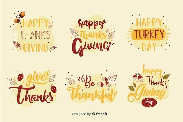 Feliz colección de insignias de letras de acción de gracias