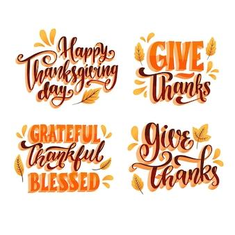 Feliz colección de letras de acción de gracias