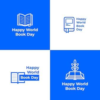 Feliz colección de logotipos del día mundial del libro