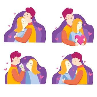 Feliz colección de pareja de san valentín