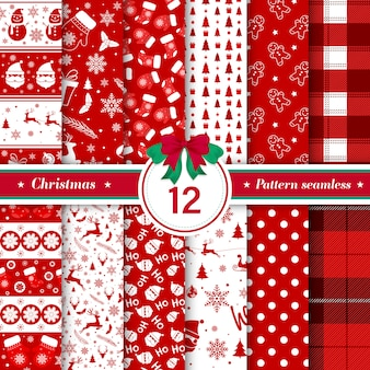 Feliz colección de patrones sin fisuras de navidad en color rojo y blanco
