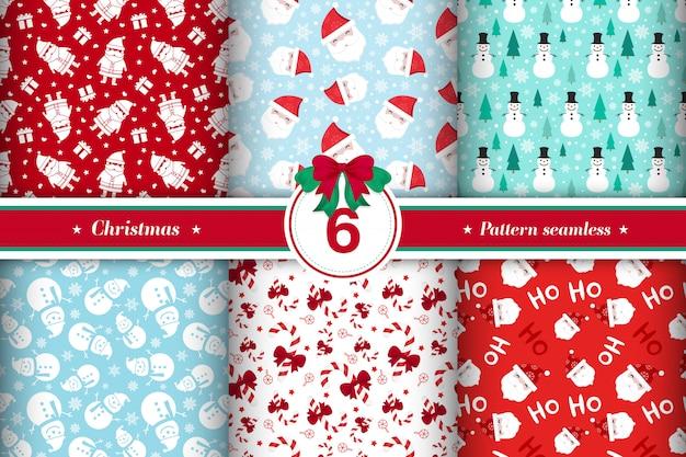 Feliz colección de patrones sin fisuras de navidad