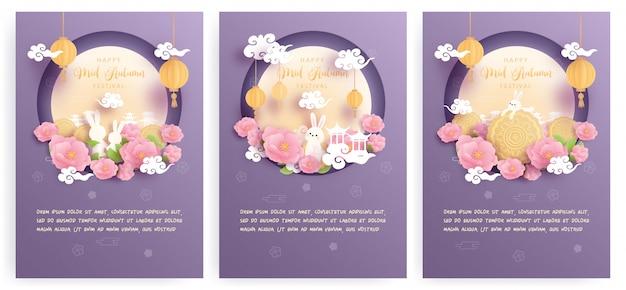 Feliz colección de tarjetas de mediados de otoño con hermosa flor de loto y luna llena, lindo conejito.