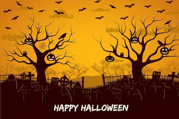 Feliz composición de halloween con pájaros y linternas en el cementerio de árboles y murciélagos voladores al atardecer