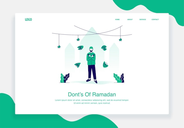 Feliz concepto de ilustración de eid al fitr de un hombre que dice cosas que no deben hacerse durante el diseño plano de ramadán