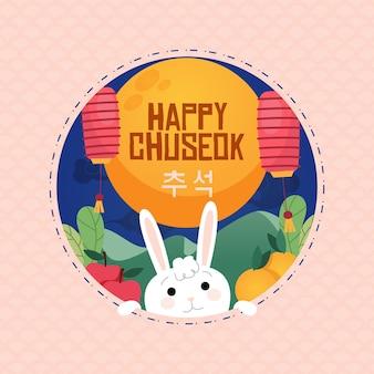 Feliz conejito chuseok en la noche