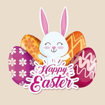 Feliz conejo y huevos de pascua con decoración de figuras