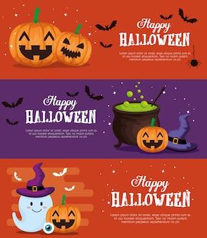 Feliz conjunto de banner de halloween