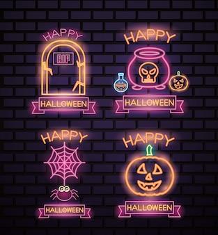Feliz conjunto de letreros de neón de halloween