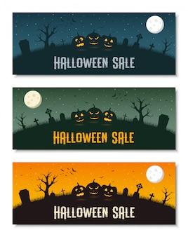 Feliz conjunto de plantillas de banner de negocios de halloween