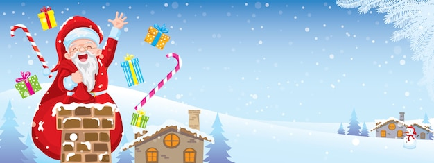 Feliz cristmasday santa claus está bajando por la chimenea por la noche el día de navidad.