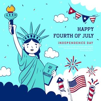 Feliz cuatro de fondo de julio con la caricatura de la estatua de la libertad