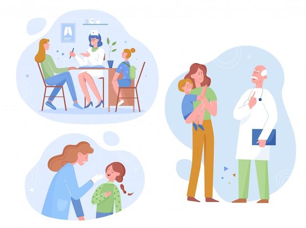Feliz cuidado joven visita médico pediatra con niño pequeño, ilustración plana. el médico general consulta a los pacientes en el chequeo en la clínica, el seguro médico, el tratamiento de atención médica.