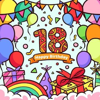 Feliz cumpleaños 18 concepto de fondo