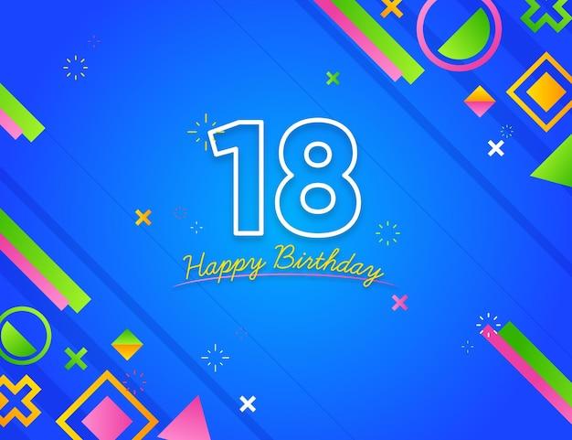 Feliz cumpleaños 18 diseño geométrico de fondo