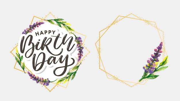 Feliz cumpleaños acuarela corona de marco otoñal hecha de hojas de otoño dibujadas a mano y saludo de flores