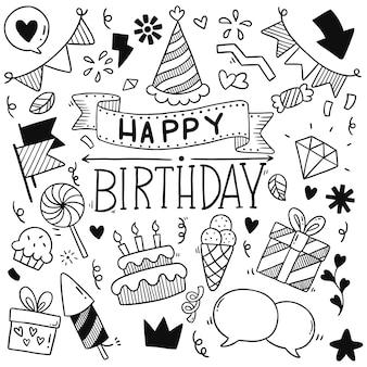 Feliz cumpleaños, adornos de doodle de fiesta dibujados a mano