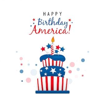 Feliz cumpleaños america con tarta tarjeta