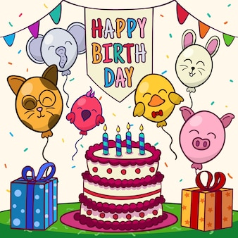 Feliz cumpleaños con animales globo y pastel.