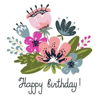 Feliz cumpleaños. arreglos de flores y hojas