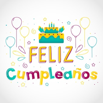 Feliz cumpleaños bocetos de globos y pastel