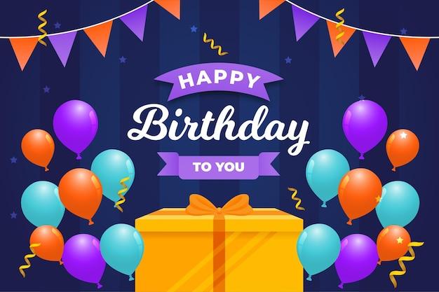 Feliz cumpleaños con caja de regalo dorada
