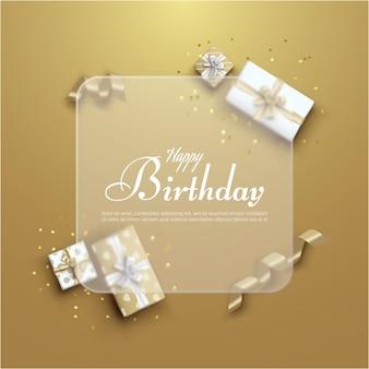 Feliz cumpleaños con caja de regalo realista y globo.