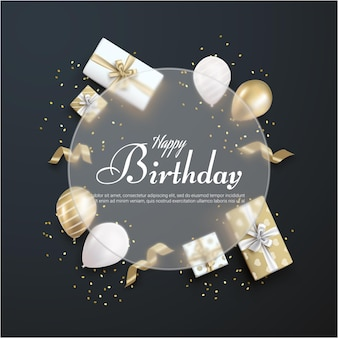 Feliz cumpleaños con caja de regalo realista sobre fondo negro