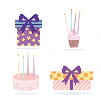 Feliz cumpleaños, cajas de regalo pastel cupcake y velas iconos dibujos animados celebración decoración