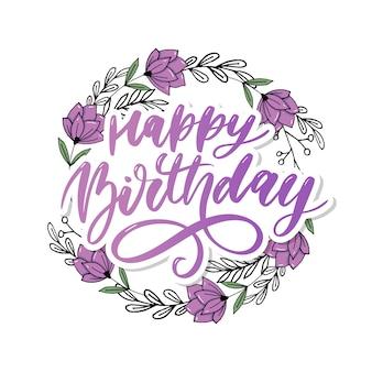 Feliz cumpleaños caligrafía caligrafía pincel degradado