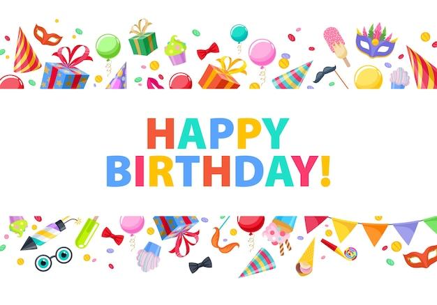Feliz cumpleaños - celebración fiesta carnaval fondo festivo. símbolos coloridos: sombrero, máscara, regalos, globos, fuegos artificiales. invitación o tarjeta de felicitación.