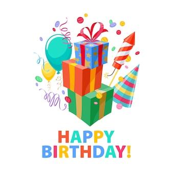 Feliz cumpleaños - celebración fiesta carnaval fondo festivo. símbolos coloridos: sombrero, regalos, globos, fuegos artificiales. invitación o tarjeta de felicitación.