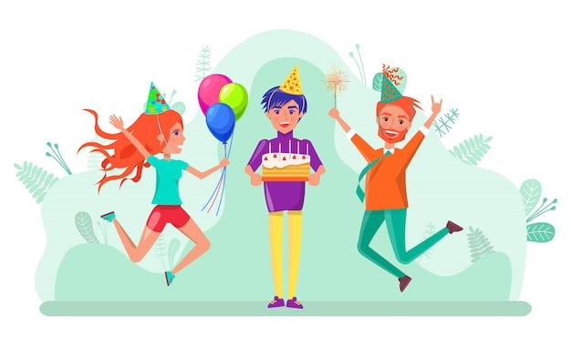 Feliz cumpleaños celebración fiesta personas amigos vector