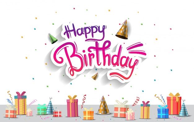 Feliz cumpleaños. celebración de fiesta, póster, pancarta y fondo