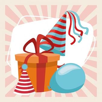 Feliz cumpleaños celebración fiesta regalo caja globo sombreros decoración